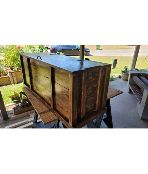 Handcrafted Toy Chest - Burnt Rough Cedar