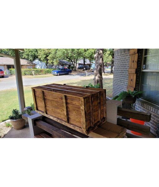 Handcrafted Toy Chest - Stained Pine