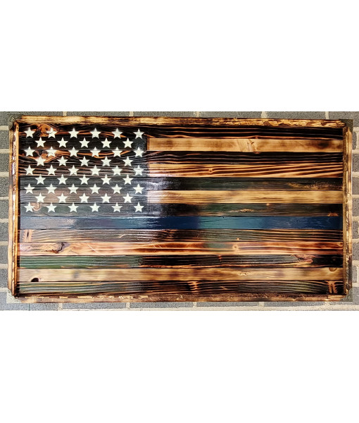 Handcrafted Wooden US 'Back the Blue' Flag
