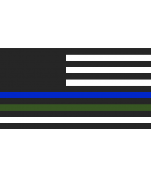 Handcrafted Wooden US Veteran + Police Flag